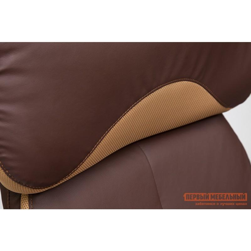 Кресло руководителя  GRAND Кож/зам/ткань, коричневый/бронза, 36-36/21 (фото 8)