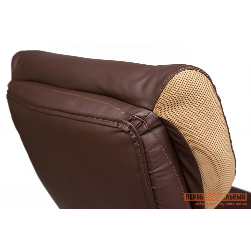 Кресло руководителя  GRAND Кож/зам/ткань, коричневый/бронза, 36-36/21 (фото 9)