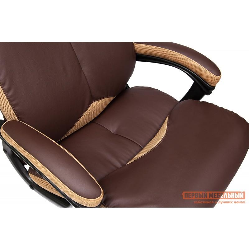 Кресло руководителя  GRAND Кож/зам/ткань, коричневый/бронза, 36-36/21 (фото 10)