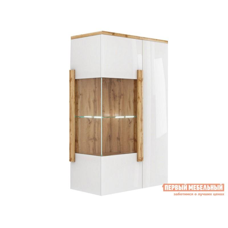 Шкаф-витрина  Витрина навесная 2-х дверная 1902.М1 Дуб Ватан / Белый лак, С подсветкой, С топом-накладкой