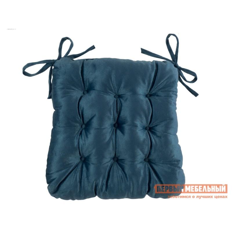 Декоративная подушка  Сидушка с завязками (синяя LinenWay) Синий, велюр
