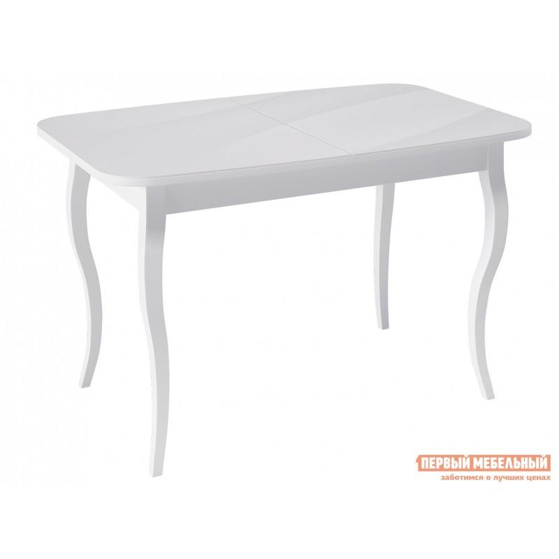 Кухонный стол  KENNER 1200С Белый / Стекло белое