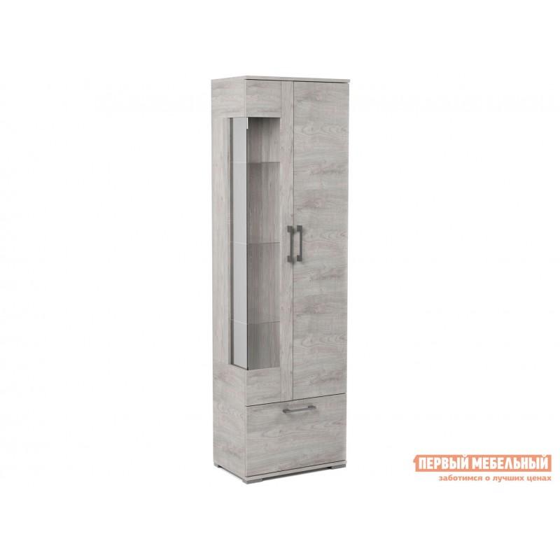 Шкаф-витрина  Пенал со стеклом Денвер Риббек серый, Правый