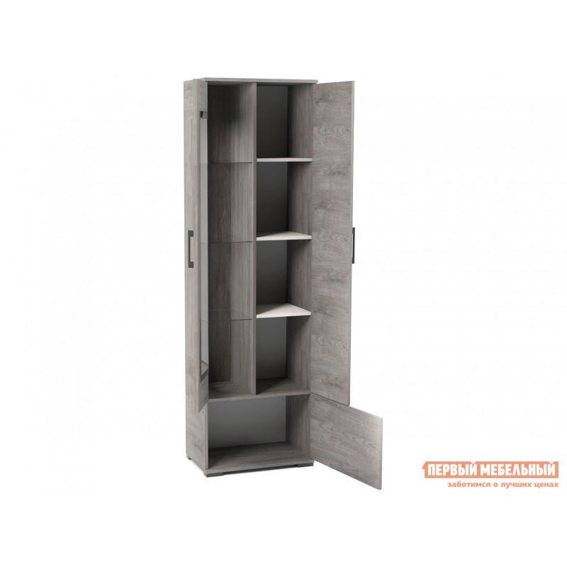 Шкаф-витрина  Пенал со стеклом Денвер Риббек серый, Правый (фото 2)