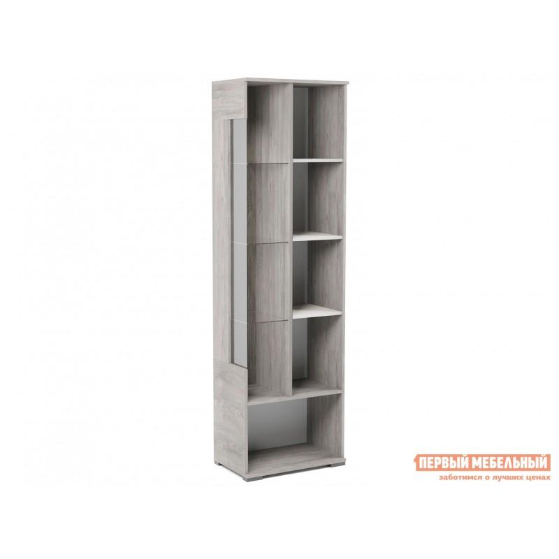 Шкаф-витрина  Пенал со стеклом Денвер Риббек серый, Правый (фото 3)