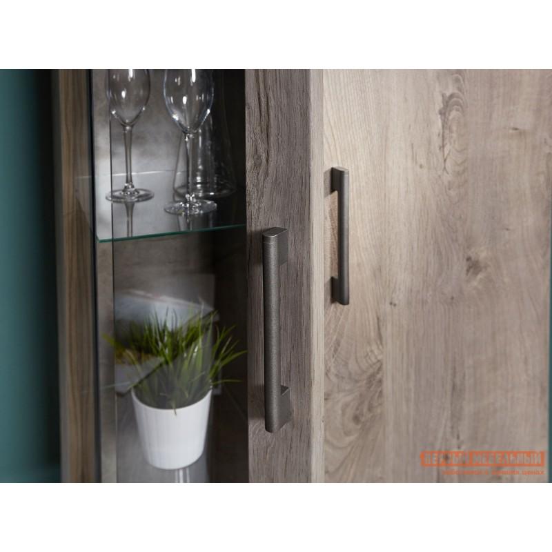 Шкаф-витрина  Пенал со стеклом Денвер Риббек серый, Правый (фото 4)