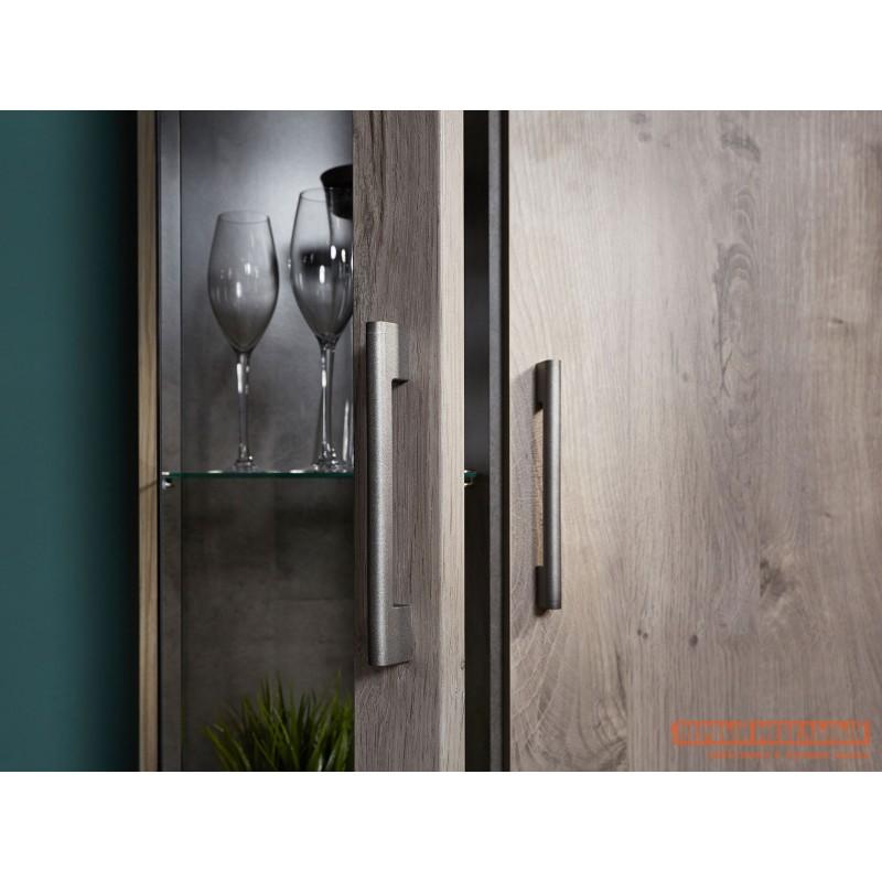 Шкаф-витрина  Пенал со стеклом Денвер Риббек серый, Правый (фото 5)