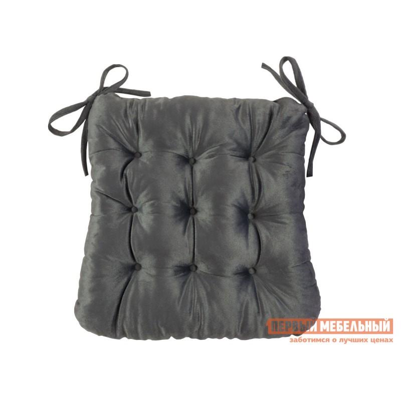 Декоративная подушка  Сидушка с завязками (серая LinenWay) Серый, велюр