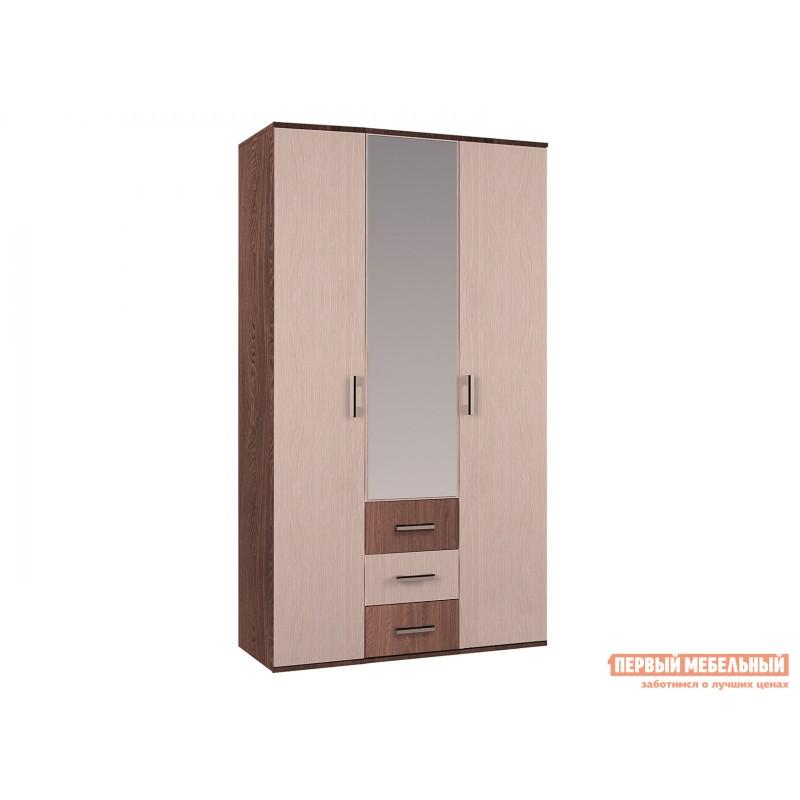 Распашной шкаф  Шкаф 3-х створчатый с зеркалом Белла Ясень шимо / Дуб 1