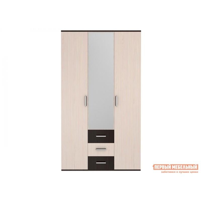 Распашной шкаф  Шкаф 3-х створчатый с зеркалом Белла Ясень шимо / Дуб 1 (фото 2)