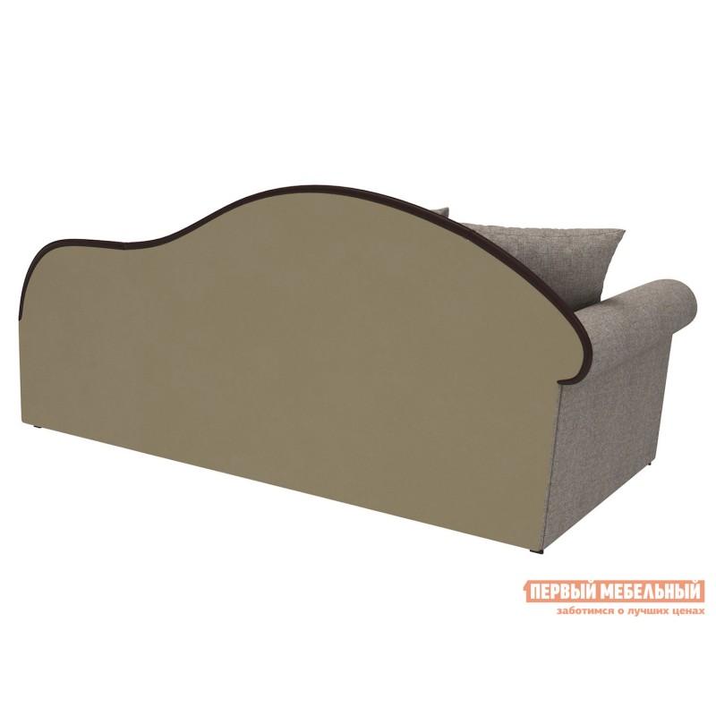 Прямой диван  Вентура Серо-бежевый, рогожка / Коричневый, иск. кожа, Левый (фото 2)
