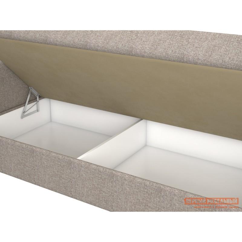 Прямой диван  Вентура Серо-бежевый, рогожка / Коричневый, иск. кожа, Левый (фото 3)