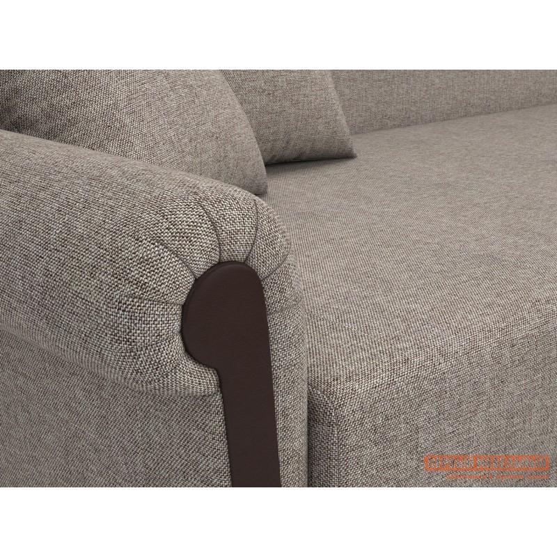 Прямой диван  Вентура Серо-бежевый, рогожка / Коричневый, иск. кожа, Левый (фото 4)
