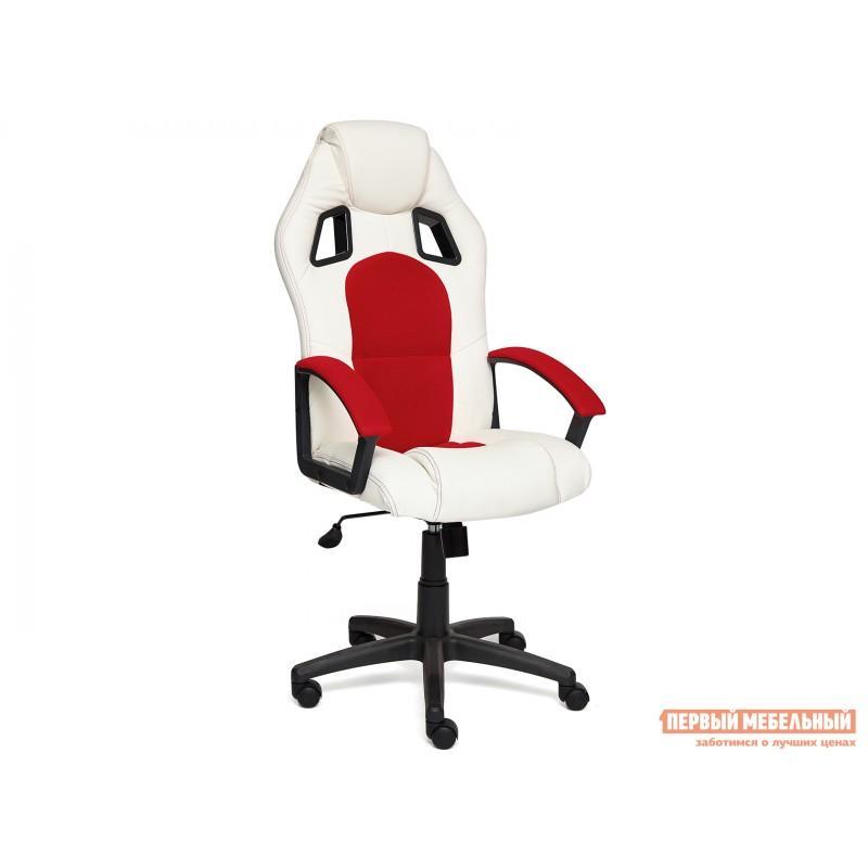 Игровое кресло  Driver Кож/зам + ткань, белый/красный
