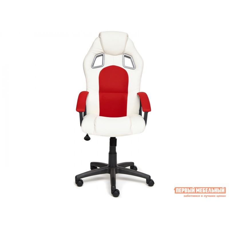 Игровое кресло  Driver Кож/зам + ткань, белый/красный (фото 2)