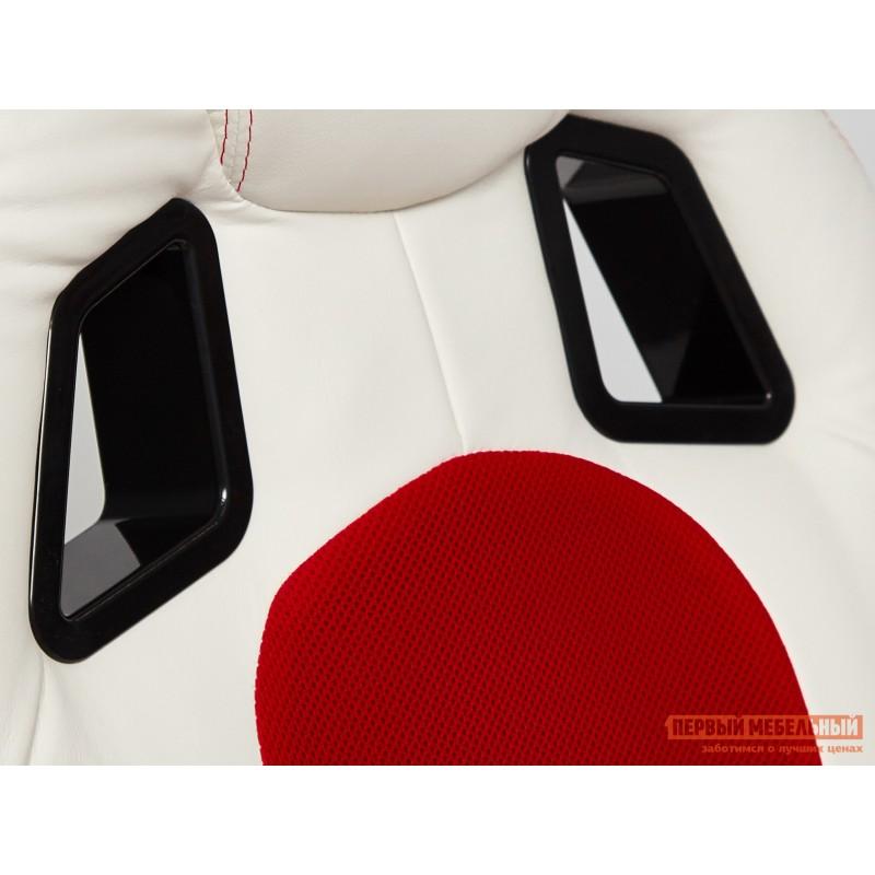 Игровое кресло  Driver Кож/зам + ткань, белый/красный (фото 5)
