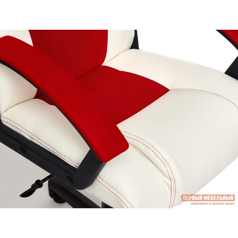 Игровое кресло  Driver Кож/зам + ткань, белый/красный (фото 6)
