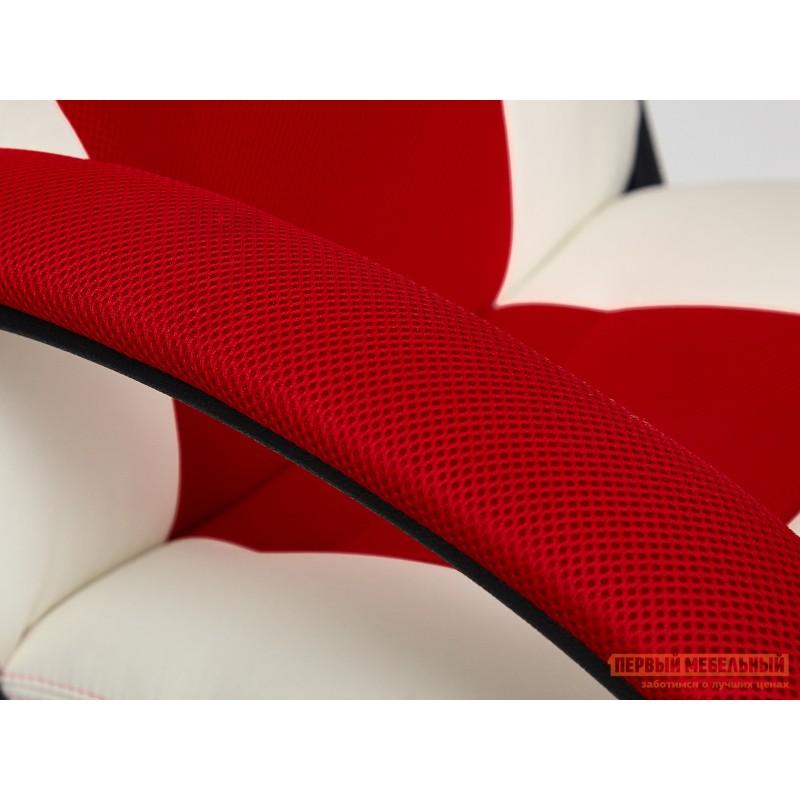 Игровое кресло  Driver Кож/зам + ткань, белый/красный (фото 7)