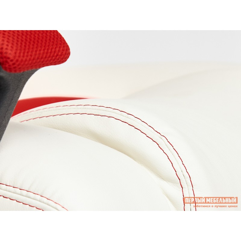 Игровое кресло  Driver Кож/зам + ткань, белый/красный (фото 8)
