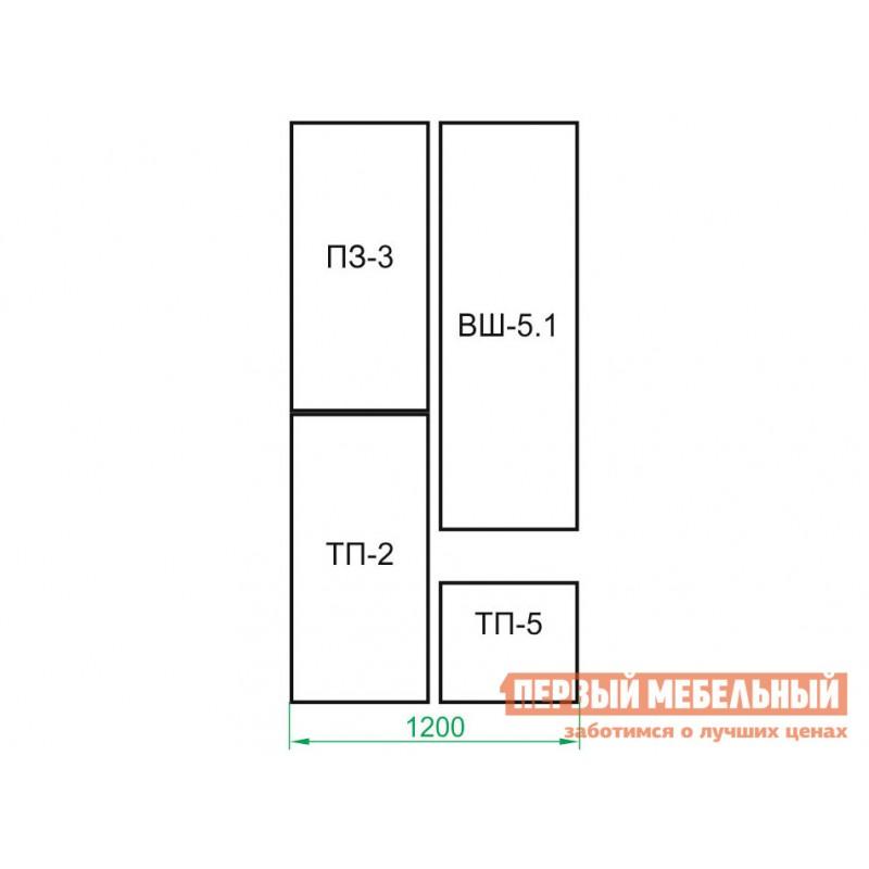 Прихожая  ВШ-5.1+ТП-5+ТП-2+ПЗ-3+ШО-1 Корпус Венге / Фасад Беленый дуб (фото 8)
