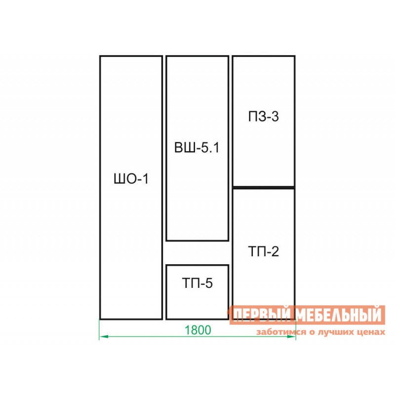 Прихожая  ВШ-5.1+ТП-5+ТП-2+ПЗ-3+ШО-1 Корпус Венге / Фасад Беленый дуб (фото 9)