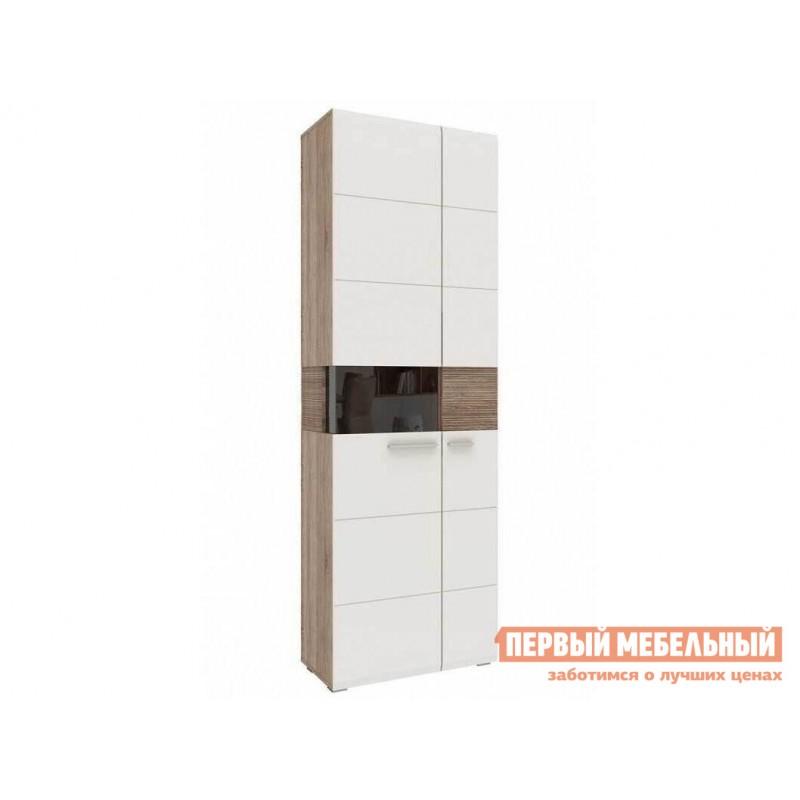Распашной шкаф  Шкаф-витрина Мишель Дуб Сонома трюфель / Латте