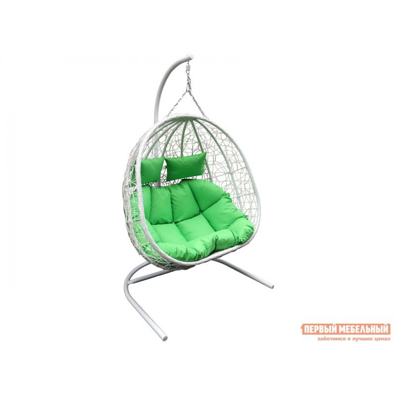 Подвесное кресло  D40 Кресло подвесное двойное Флора Белый, металл / Белый, ротанг / Салатовый, ткань