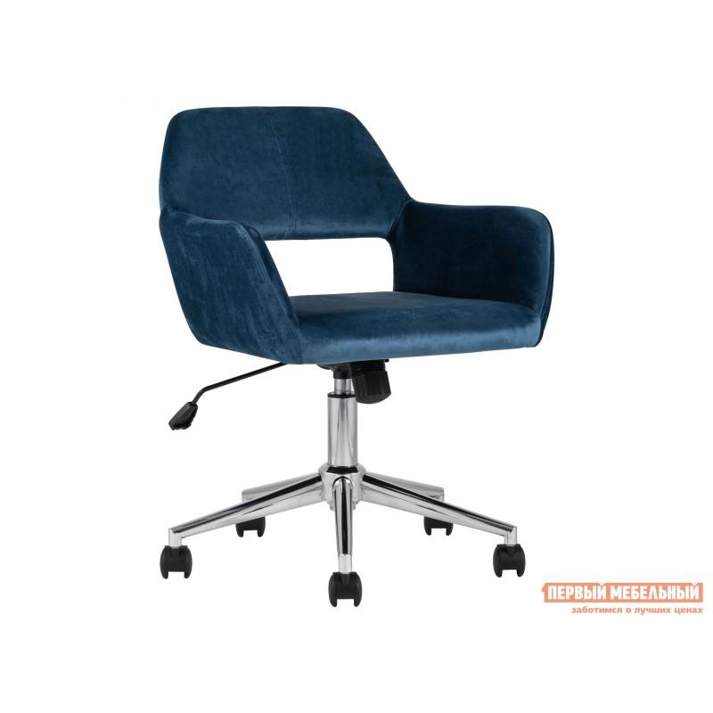 Офисное кресло  Стул офисный ROSS Синий, велюр / Хром