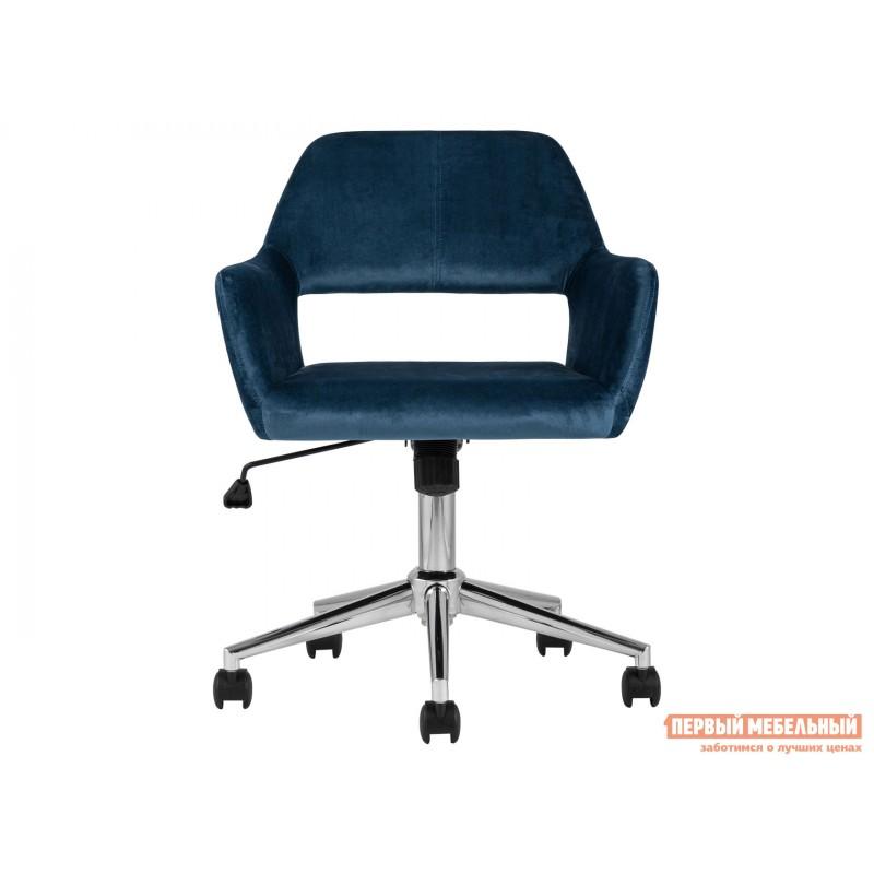 Офисное кресло  Стул офисный ROSS Синий, велюр / Хром (фото 2)
