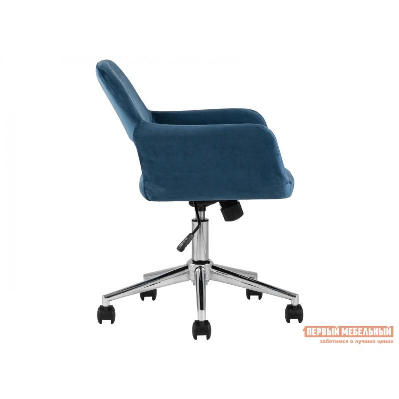 Офисное кресло  Стул офисный ROSS Синий, велюр / Хром (фото 3)