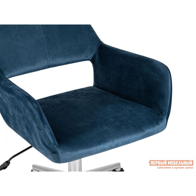 Офисное кресло  Стул офисный ROSS Синий, велюр / Хром (фото 6)