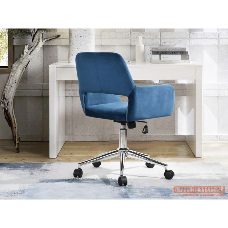 Офисное кресло  Стул офисный ROSS Синий, велюр / Хром (фото 8)