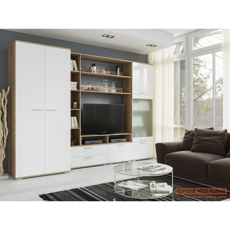Шкаф распашной  Шкаф для одежды Лейла Дуб каньон / Белый глянец (фото 5)