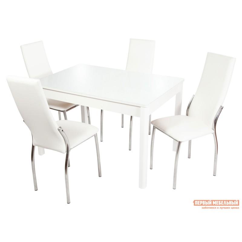 Обеденная группа для столовой и гостиной  Стол Гамбург + 4 стула Асти Аврора вайт, экокожа / Белый, ЛДСП / Белый, стекло