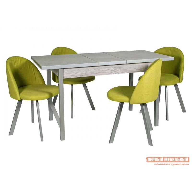 Обеденная группа для столовой и гостиной  Стол Денвер + 4 Стула Спайдер Навара ЛДСП / Канди олива, велюр / Металлик