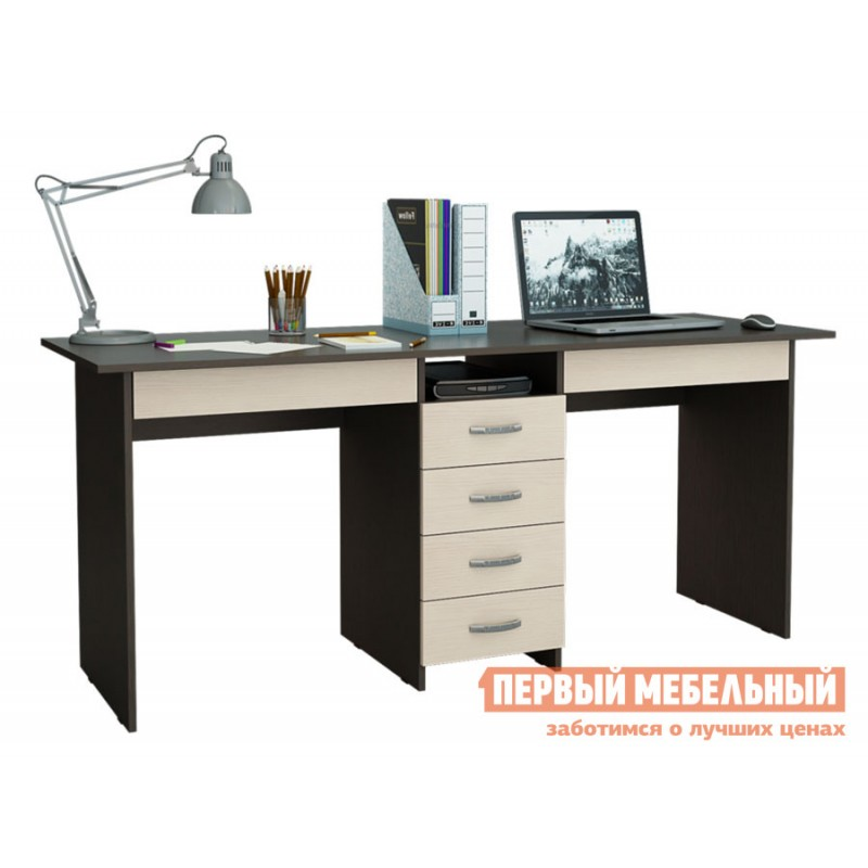 Компьютерный стол  Стол для двоих Тандем-2Я (0120) Венге / Дуб Молочный