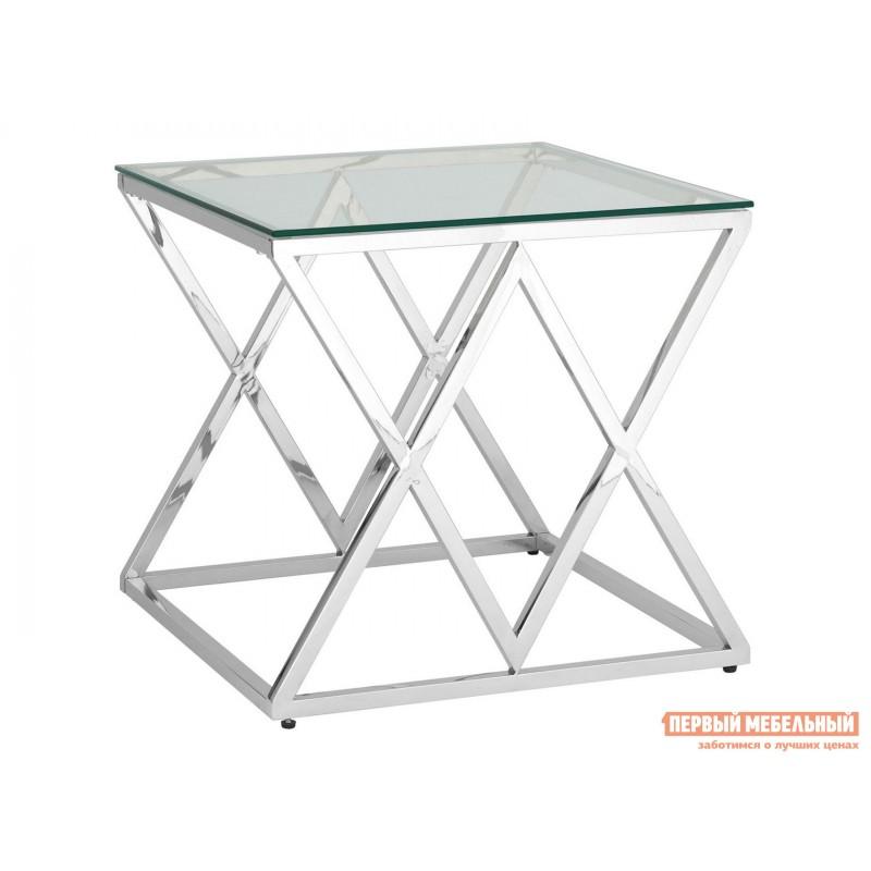Журнальный столик  Инсигния EET-026 Прозрачное стекло / Сталь, серебро