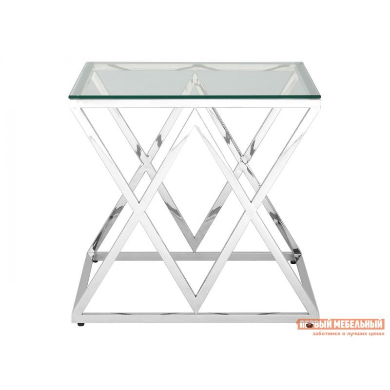 Журнальный столик  Инсигния EET-026 Прозрачное стекло / Сталь, серебро (фото 2)