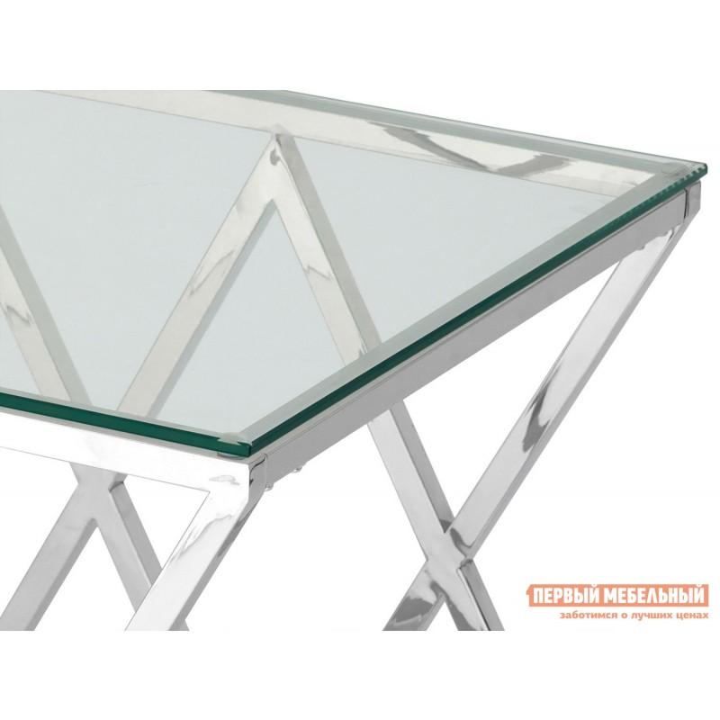 Журнальный столик  Инсигния EET-026 Прозрачное стекло / Сталь, серебро (фото 3)