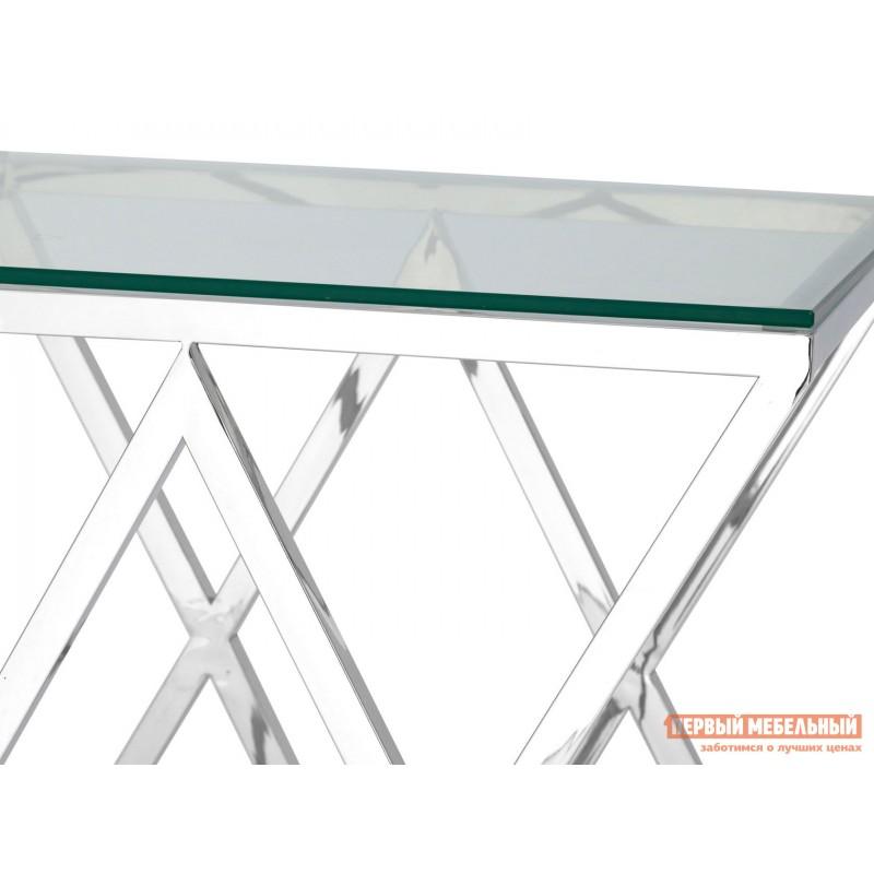 Журнальный столик  Инсигния EET-026 Прозрачное стекло / Сталь, серебро (фото 4)