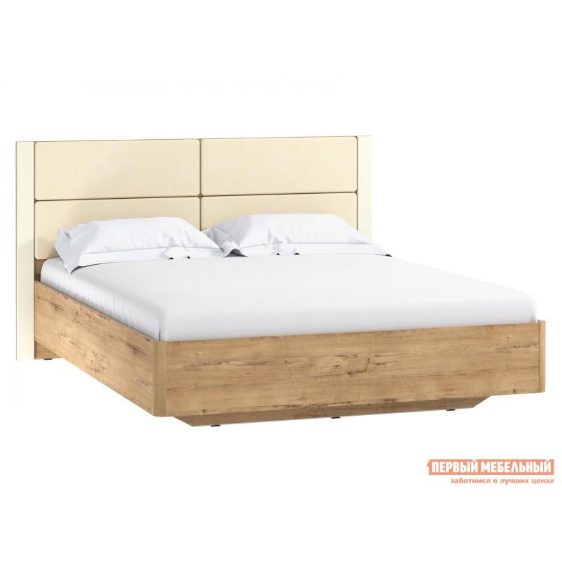 Двуспальная кровать  Кровать Ливорно 040.52 Дуб бунратти / Софт панакота