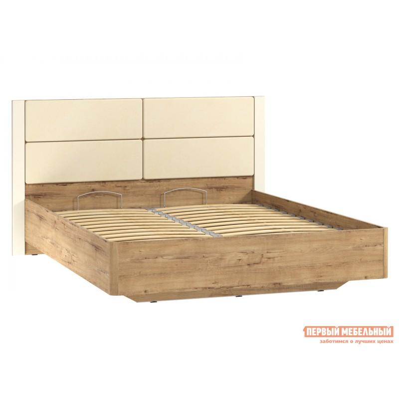Двуспальная кровать  Кровать Ливорно 040.52 Дуб бунратти / Софт панакота (фото 2)