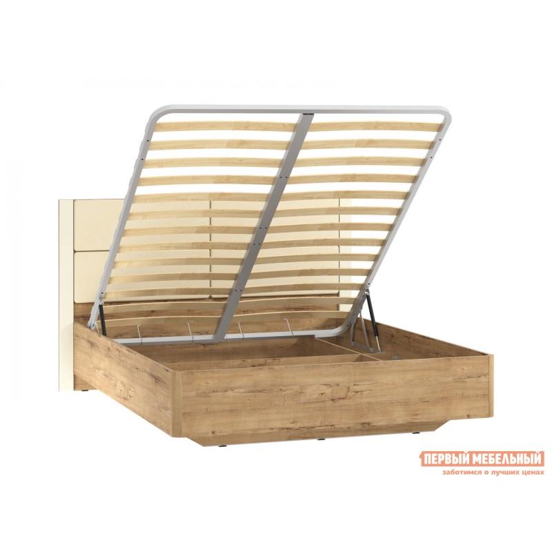 Двуспальная кровать  Кровать Ливорно 040.52 Дуб бунратти / Софт панакота (фото 3)