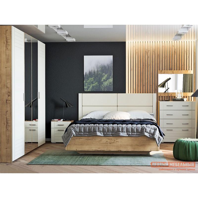 Двуспальная кровать  Кровать Ливорно 040.52 Дуб бунратти / Софт панакота (фото 7)