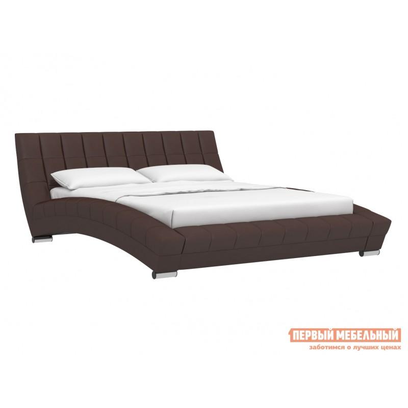 Двуспальная кровать  Кровать Оливия 160х200 Темно-коричневый, экокожа