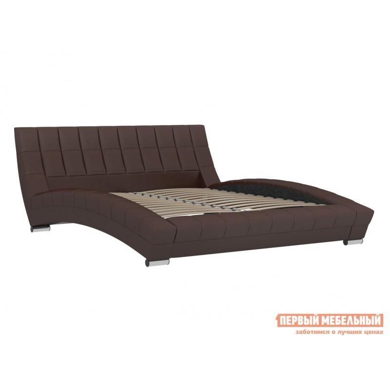 Двуспальная кровать  Кровать Оливия 160х200 Темно-коричневый, экокожа (фото 2)
