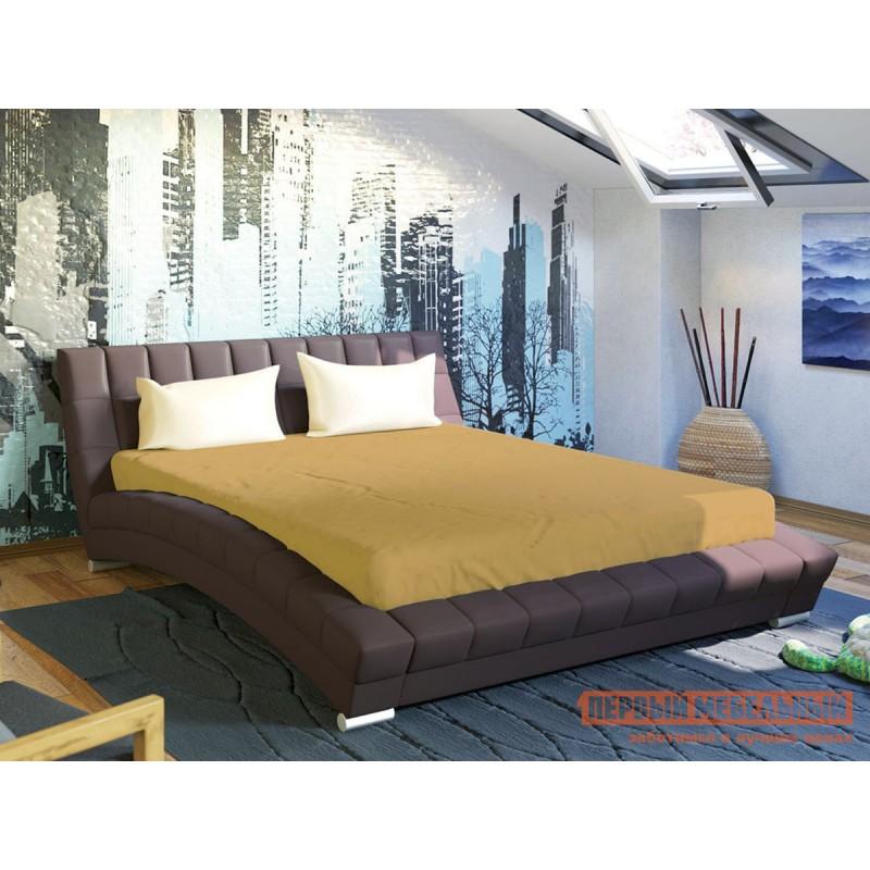 Двуспальная кровать  Кровать Оливия 160х200 Темно-коричневый, экокожа (фото 3)