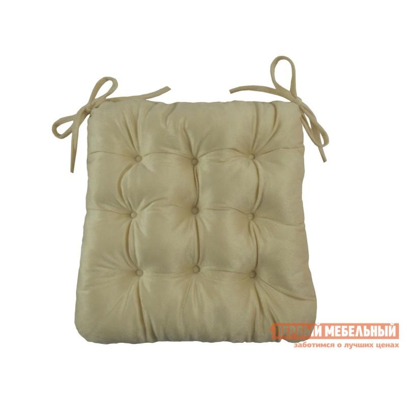 Декоративная подушка  Сидушка с завязками (кремовая LinenWay) Кремовый, велюр