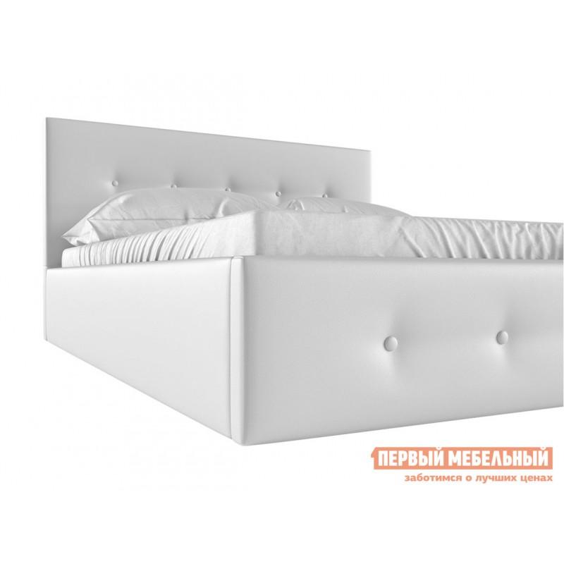 Двуспальная кровать  Колумбия ПМ Белый экокожа, 1400 Х 2000 мм (фото 4)