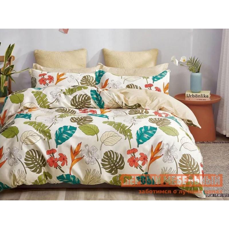 Комплект постельного белья  КПБ сатин Основа Снов белый, тропические растения Тропики, сатин, Полутороспальный